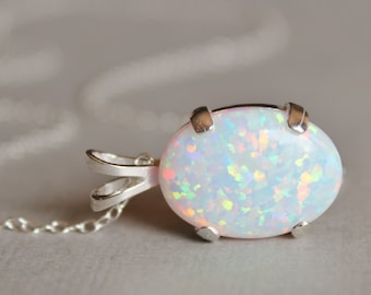 Opal Necklace,Lab Created Australian Opal Gemstone Necklace,Opal Pendant,White Opal,Sterling Silver,Opal Jewelry,Birthstone,Gemston
