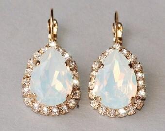 Swarovski White Opal Halo Drop Earrings,Pear Shaped,Teardrop White Opal Earrings,Bridal,Weddings,Gold Or Silver,Opal Drop Stud,Large Earring