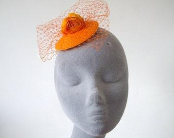 Orange Fascinator- Orange Flower Fascinator