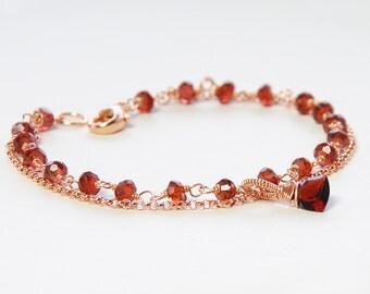 Garnet Rose Gold Filled Gemstone Bracelet by Agusha. January Birthstone Bracelet. Red Gemstone Bracelet. . Dainty Bracelet