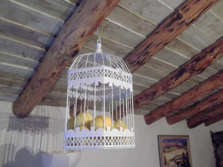 Metal Bird Cage Kitchen Storage Home Decor Beach House