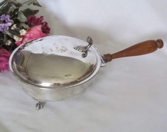 Vintage Sheffield Silver Company Silent Butler with Wood Handle Rearing Horse Claw Feet