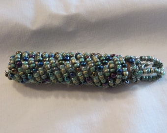 Glass Vial in Beaded Pouch