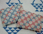 RESERVED for Debbie-Darling PAIR of Vintage Yo Yo Pillows, 1930's Cotton Prints, Pink and Blue