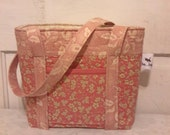Quilted Cotton Handbag in Rose Colored Print