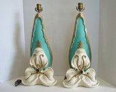 "LAYAWAY- PAYMENT #3-Pair of Rare 1950s ""Trillium"" Lamps - Atomic - Universal Statuary - Chalkware - NO Shades"