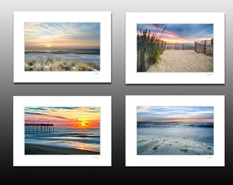 Ocean Sunrise Collection, Set of four small matted prints, Blue decor, each fit a 5x7 inch frame, Holiday Christmas Gifts