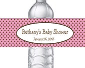 15 Personalized Pink & Brown Polka Dots Baby Shower Water Bottle Labels - Baby Girl Pink Polka Dot Stickers for favors
