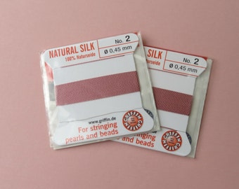 Natural Silk Cord With Needle - 2 packs - Size 2 - Dark Pink
