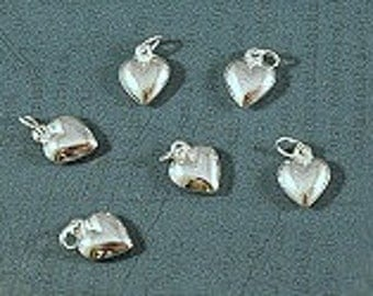 Sterling Silver Puffy Heart Charm - 8x10mm - Sold Per Piece - CR5HT2