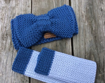 Knit Big Bow Headband with Matching Fingerless Gloves, Bow Ear Warmer with Fingerless Gloves