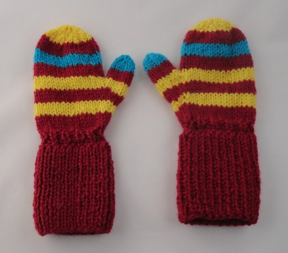 Hand Knit Childs Long Cuff Red Yellow Turquoise Ski Mittens Baby Winter Gift Set Super Warm Striped Snow Mittens