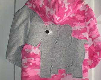 Toddler girls zip front hoodie, elephant sweatshirt, pink camoflage with grey elephant trunk sleeve, elephant shirt, 4T or 5T