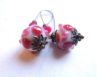 Pink Bobble Lampwork Earrings. Antique Bronze Earrings. Long Dangle Earrings. Handmade Earrings. Handcrafted Jewelry.