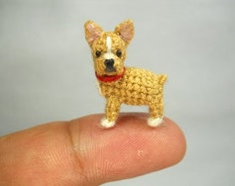 Mini Fawn French Bulldog - Micro amigurumi Tiny Crocheted Dog - Made To Order