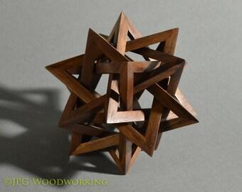 Starburst sculpture, free-standing; walnut