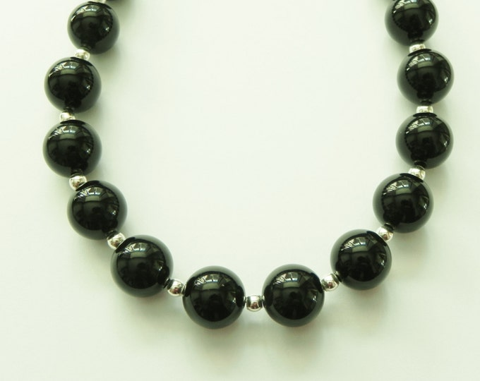 Chunky black necklace with agate and sterling silver. Black gemstone necklace.