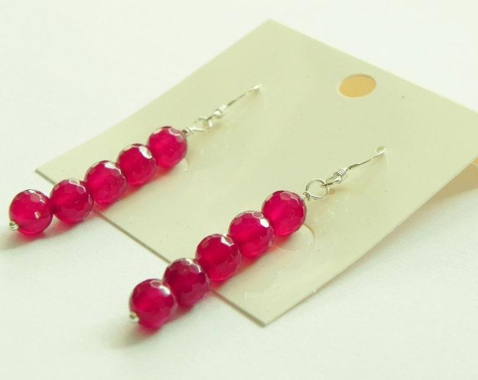 Raspberry/ruby red chalcedony drop gemstone sterling silver earrings|red gemstone earrings|silver earrings|red earrings|raspberry|ruby|red|