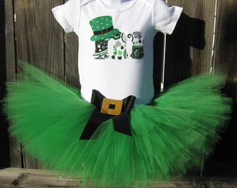 St Patrick's Day Tutu Set | Personalized Bodysuit with Tutu and Matching Headband | Birthday Photo Prop, Costume