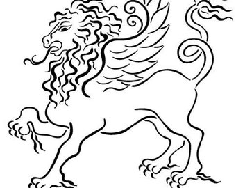 """Clear stamp (2.5"""" x 2.5"""") FLONZ clingy acrylic stamp // Gryphon"""