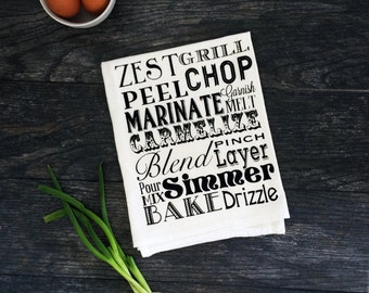 Cooking Typography Screen Printed Cotton Kitchen Tea Towel