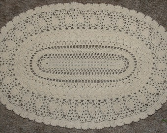 Handmade Detailed Crochet Doily White-Home Table Top Decor -Placemat-Table Cover-19x12 Inch-All Occasion Doily-Oval Doily-Table Centerpiece
