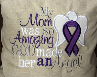 My Mom was so Amazing God made her an Angel Throw Pillow Cover Alzheimer's awareness pillow cover