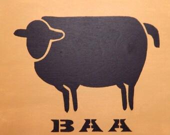 Black Sheep Primitive Original Acrylic on Wood Folk Art Lamb Naive Ready to Hang Outsider Art Cottage Chic Chabby Chic Primitive Home Decor