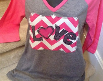 Valentines Love shirt with 3/4 Sleeves
