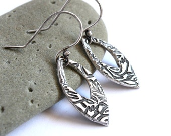 Silver Teardrop Earrings - Antiqued Sterling - Elegant Abstract Floral Leaf Marquise - PMC Jewelry
