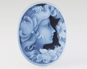 Large Hardstone Agate Cameo Contemporary Girl with Flowers