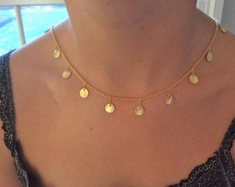 Gold Necklace, Dainty Gold Disc Necklace, Gold Disc Necklace, Gold Choker, birthday gift, Gifts for Her, Best Friend Gifts, Coin Necklace