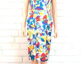 80's ABSTRACT SILK DRESS vintage strappy sundress bright painterly floral princess seams midi dress S