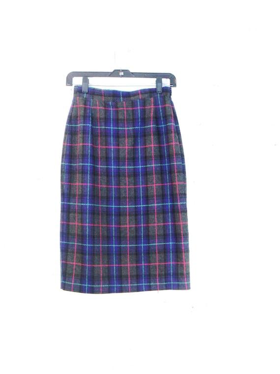 80 s plaid pencil skirt vintage wool high waisted midi