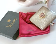 Volupte Gaige Coin Purse Compact Silver Plated Faux Ruby Kiss Closure Never Used Box  Puff Red Satin Pouch Signed Collector Item GORGEous