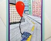 To Many More Years and Many More Miles Running Happy Birthday Handmade Greeting Card for Runners (City Scene) - hand-colored print