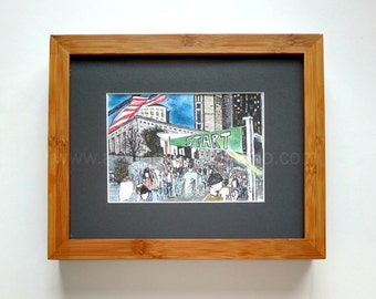 8 x 10 Original Colorful Running Framed Art Illustration - Start Line at The 2011 Columbus Marathon - Pen and Colored Pencil Drawing
