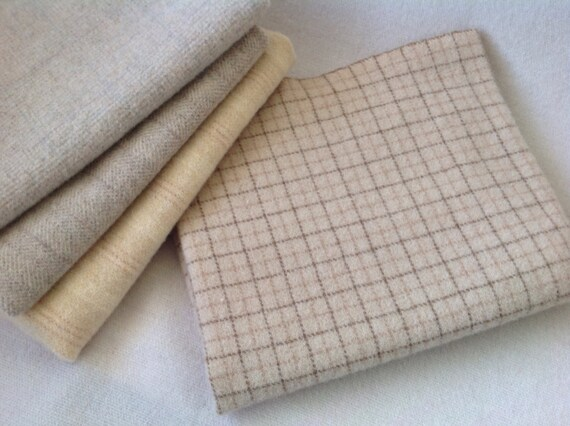 Wool fabric for rug hooking and appliqué, Select a Size, Creme Brûlée  J909