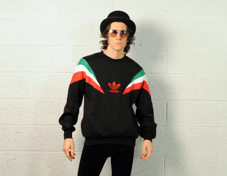 vintage 80s adidas sweatshirt pullover green white red black. Black Bedroom Furniture Sets. Home Design Ideas