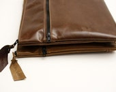 Leather Portfolio Case, Leather Bag, Zipper Pocket, Zipper Closure