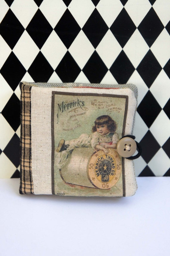 Needle Book Keep with Vintage Sewing Ad Image - OOAK