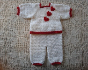 3-6 month White Crochet Sweater and Pant Set with Red Heart Applique