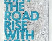 Baltimore Real Letterpress/ May The Road Rise With You/ Letterpress Print on Antique Atlas Page