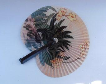 Vintage Chinese Yellow Flowers Folding Paper Fan Metal Handle Floral Collapsible Pleats Handheld Accordion Olive Green Cactus Nature China