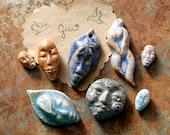 SUPER SALE / Ceramic Pendant/Bead Set (12-29-1013)