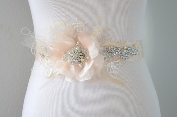 READY TO SHIP, Nude Champagne Flower sash, Flower sash, pearl and rhinestone sash, Tulle flower, Nude feather sash, Flower feather sash,Lace