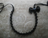 Ribbon necklace - Black ribbon necklace with black and grey bow and black glass pearls