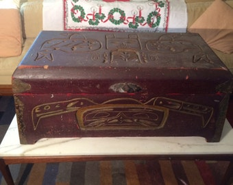 Antique Northwest Coast Indian CHEST Trunk Box Carved Wood RARE