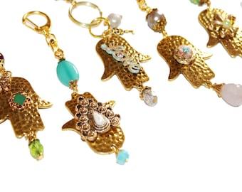 Hamsa keychain, Judaica jewelry, Pearls keychain, hamsa charm keychain, Hamsa, Gold keychain, Rose quarts, Brazilian Aquamarine key chain