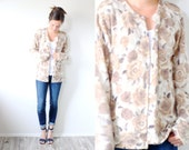 Vintage floral boho sweater // tan cream rose floral sweater cardigan // granny cardigan // spring sweater // boho jumper // grandma sweater